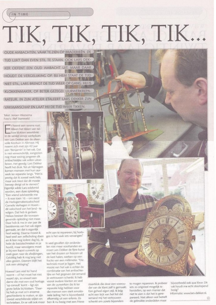 Oud ambacht van klokkenmaker Alkmaar